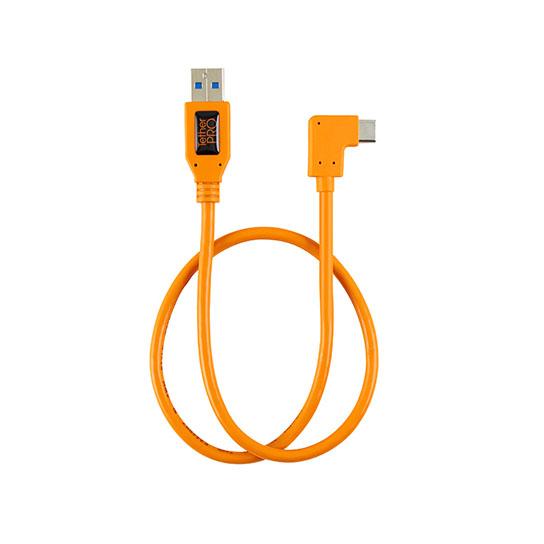 TETHER TOOLS(テザーツールズ) TetherPro ライト アングル アダプター USB 3.0 to USB-C オレンジ(50cm) CUCRT02-ORG