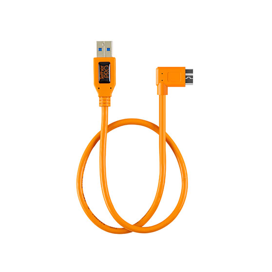 TETHER TOOLS(テザーツールズ) TetherPro ライト アングル アダプター USB 3.0 to USB 3.0 micro-B 5-pin オレンジ(50cm) CU61RT02-ORG