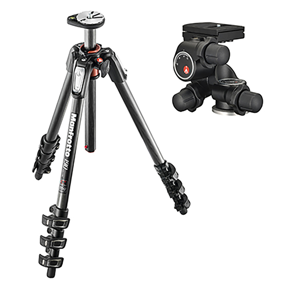 Manfrotto(マンフロット) 190プロカーボン4段三脚+410ギア付き雲台キット JP-MK190C4-410